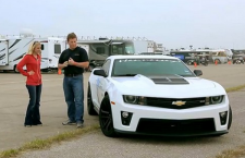 MotorTrend's Jessi Lang flat-foots a Hennessey 2013 Chev Camaro ZL1