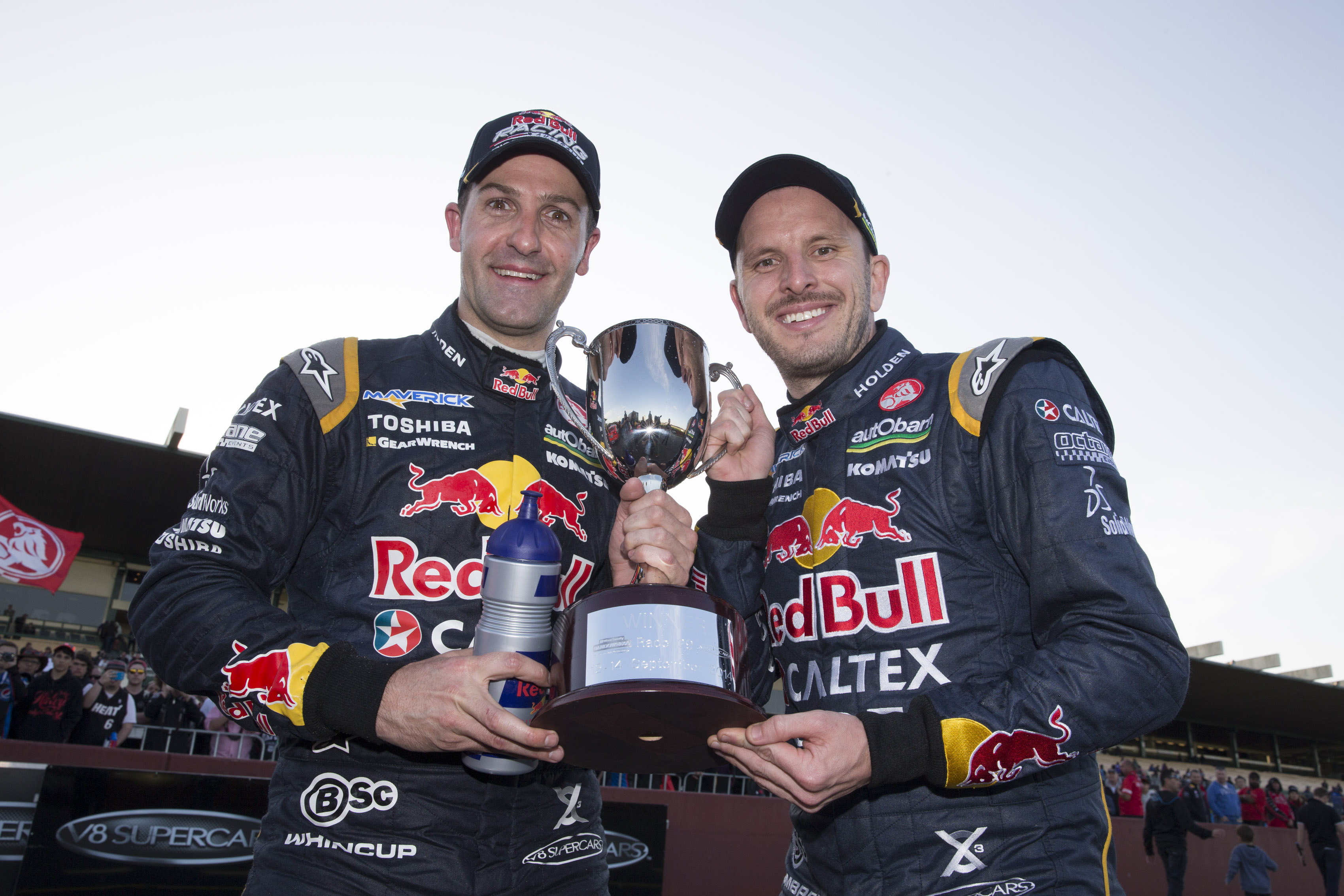 Jamie Whincup and Paul Dumbrell of Red Bull Racing Australia winners of the Wilson Security Sandown 500, Event 10 of the 2014 Australian V8 Supercar Championship Series at the Sandown International Motor Race, Melbourne, Victoria, September 14, 2014.