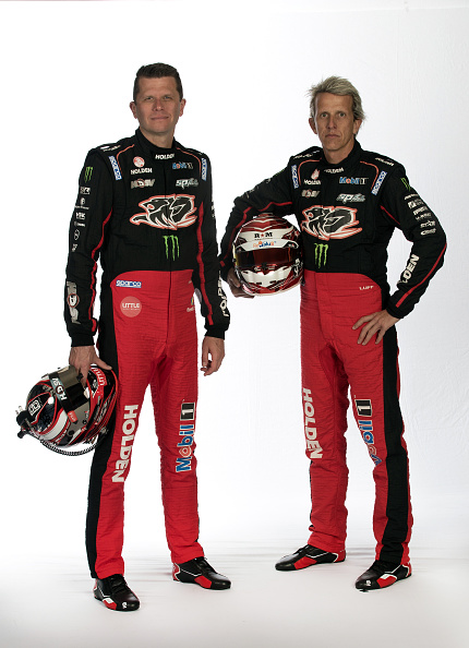 MELBOURNE, VICTORIA - SEPTEMBER 15: Garth Tander and Warren Luff drivers of the #2 Holden Racing Team Holden pose during a V8 Supercars portrait session at Sandown International Motor Raceway on September 15, 2016 in Melbourne, Australia. (Photo by Robert Cianflone/Getty Images)